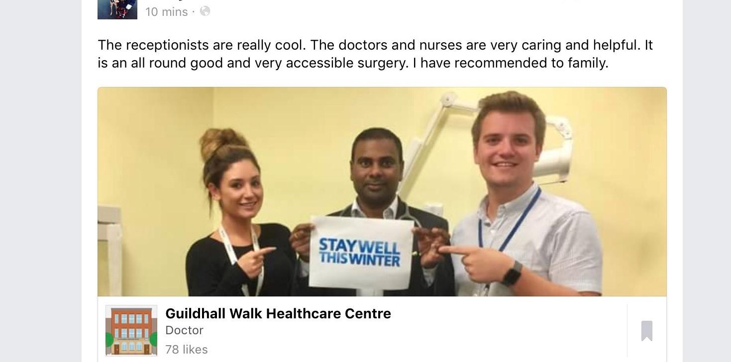 Guildhallwalk Healthcare Centre – Social Media Update
